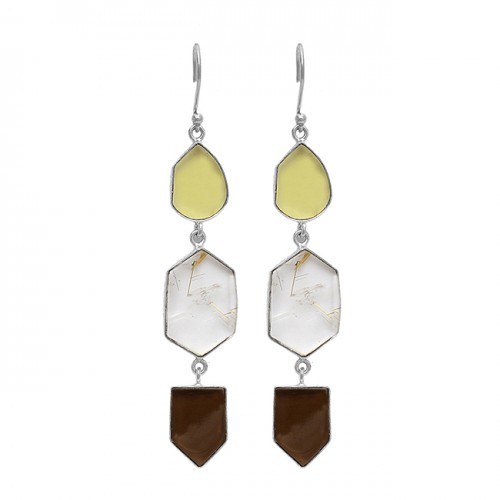 Smoky Quartz Gold Rutile Chalcedony Gemstone 925 Sterling Silver Gold Plated Earrings