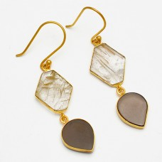 Smoky Quartz Golden Rutile Quartz Gemstone 925 Sterling Silver Gold Plated Earrings