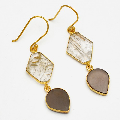 Smoky Quartz Golden Rutile Quartz Gemstone 925 Sterling Silver Gold Plated Earrings