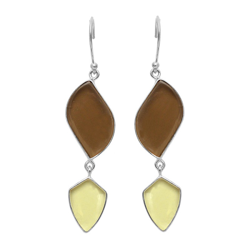 Smoky Quartz Chalcedony Gemstone 925 Sterling Silver Gold Plated Dangle Earrings