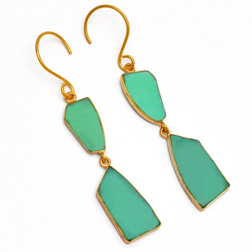 Natural Chrysoprase Gemstone 925 Sterling Silver Gold Plated Dangle Earrings