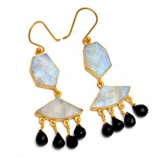 Black Onyx Moonstone 925 Sterling Silver Gold Plated Handmade Dangle Earrings