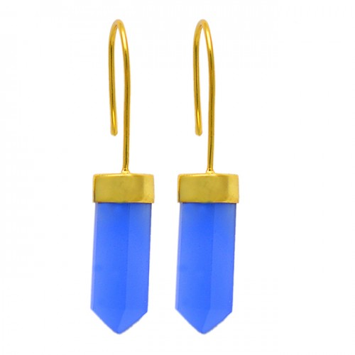Half Pencil Shape Blue Chalcedony Gemstone 925 Sterling Silver Gold Plated Earrings