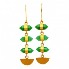 Step Cut Pencil Shape Green Onyx Gemstone Handcrafted Designer Gold Plated Earrings