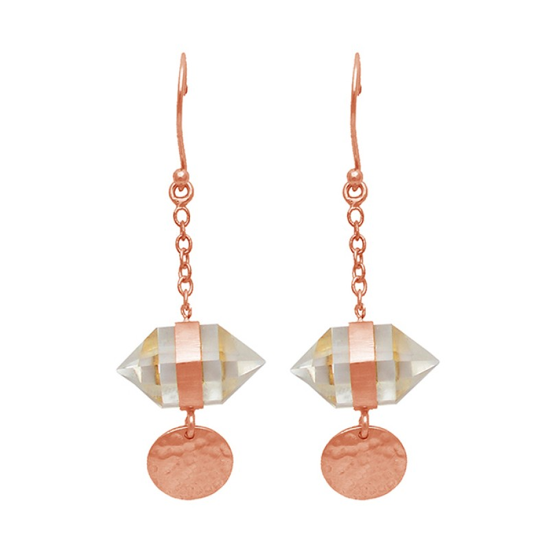 Double Point Pencil Shape Crytal Gemstone Gold Plated Hanging Chain Dangle Earrings