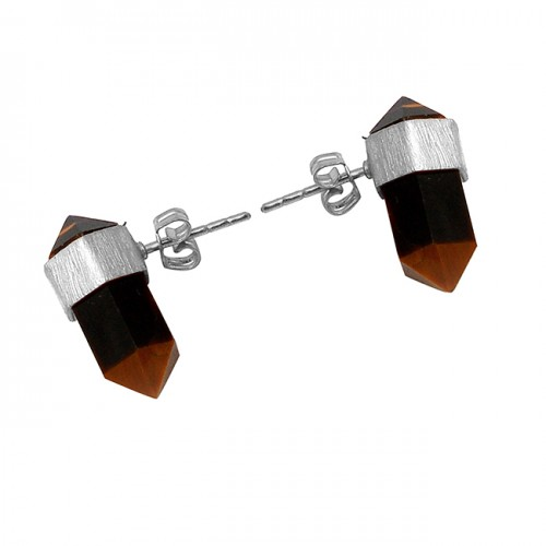 Handmade Designer Tiger Eye Pencil Shape Gemstone Gold Plated Stud Earrings
