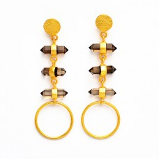 Smoky Quartz Step Cut Pencil Shape Gemstone 925 Silver Gold Plated Dangle Stud Earrings