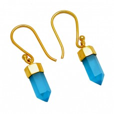 Blue Chalcedony Pencil Shape Gemstone 925 Sterling Silver Gold Plated Dangle Earrings