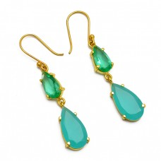 Pear Shape Apatite Chalcedony Gemstone 925 Sterling Silver Gold Plated Dangle Earrings
