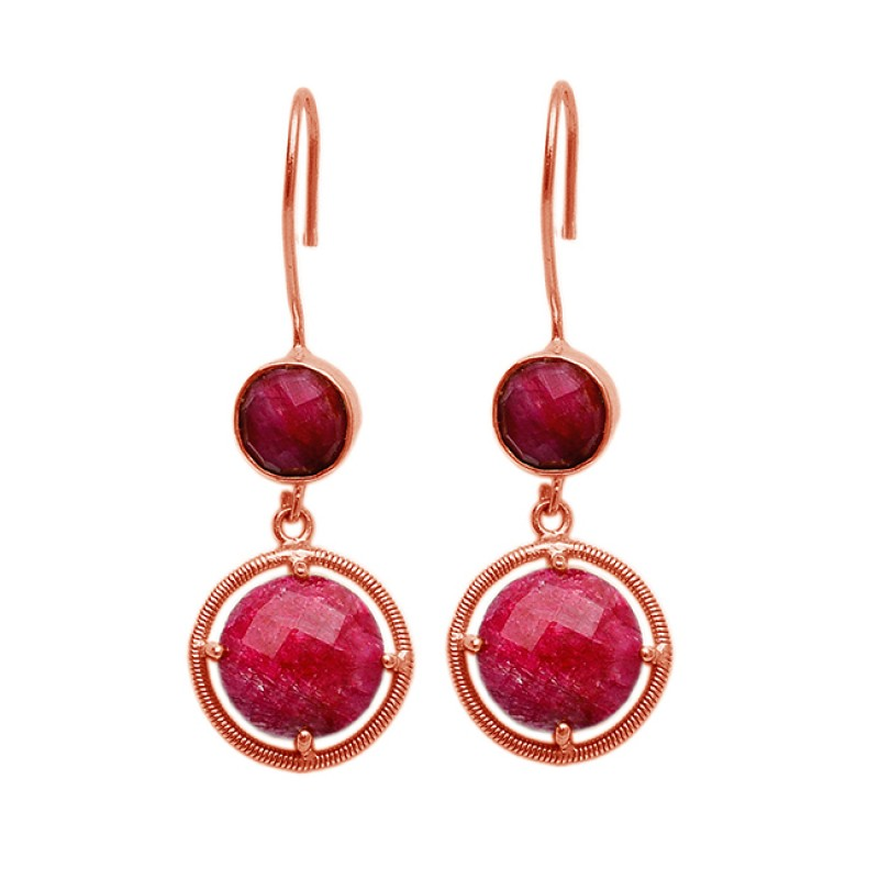 Round Briolette Ruby Gemstone 925 Sterling Silver Gold Plated Dangle Earrings