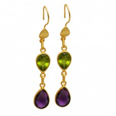 Amethyst Peridot Pear Shape Gemstone Gold Plated Bezel Setting Dangle Earrings