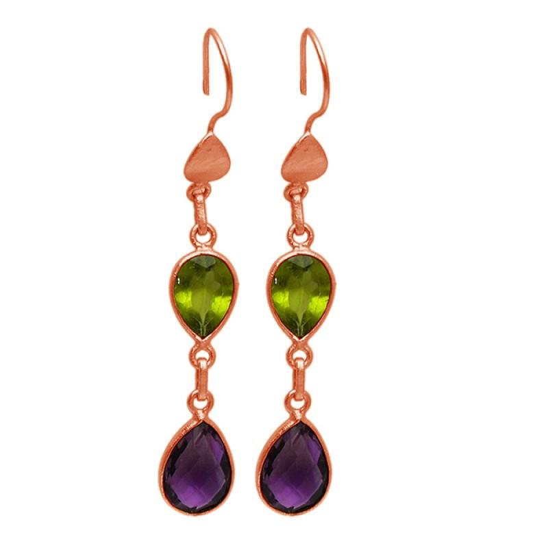 Amethyst Peridot Pear Shape Gemstone Gold Plated Bezel Setting Dangle Earrings