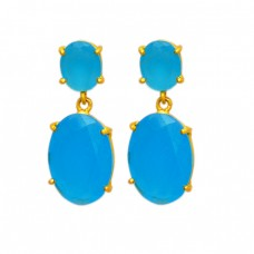 Aqua Chalcedony Oval Shape Gemstone Prong Setting Gold Plated Stud Earrings