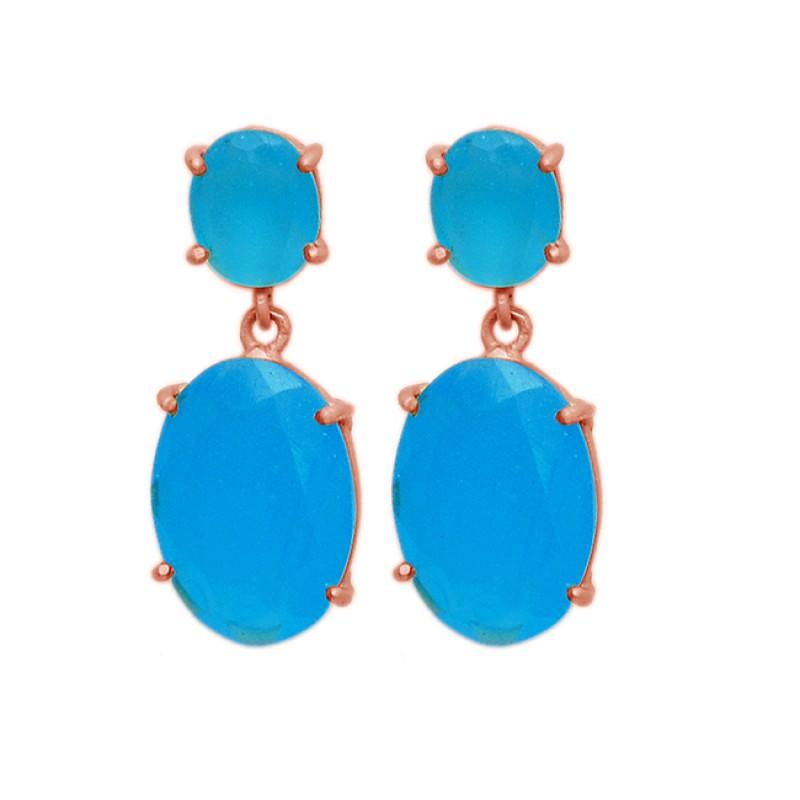 Aqua Chalcedony Oval Shape Gemstone Prong Setting Gold Plated Stud Earrings