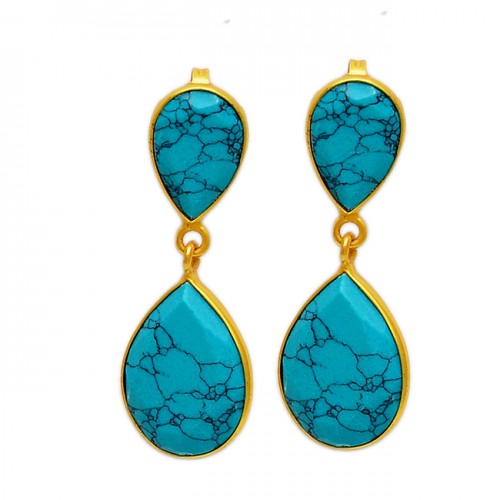 Pear Shape Turquoise Gemstone 925 Sterling Silver Gold Plated Dangle Stud Earrings