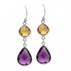 Citrine Amethyst Gemstone 925 Sterling Silver Gold Plated Dangle Handmade Earrings