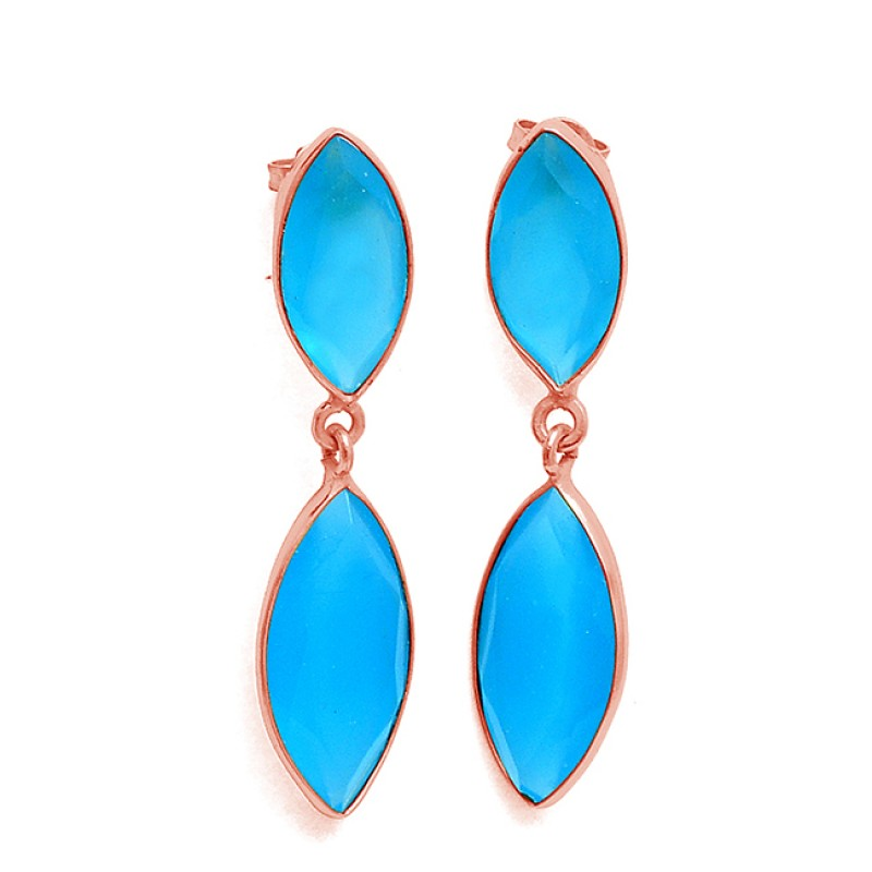 Marquise Shape Aqua Chalcedony Gemstone 925 Sterling Silver Gold Plated Stud Earrings