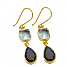 Blue Topaz Black Onyx Gemstone 925 Sterling Silver Gold Plated Dangle Earrings