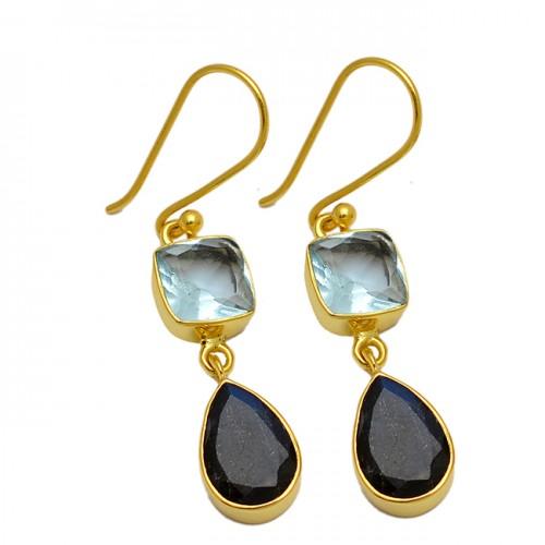 Blue Topaz Black Onyx Gemstone 925 Sterling Silver Gold Plated Dangle Earrings