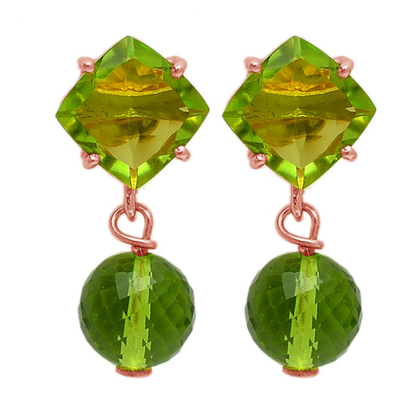Square Round Balls Shape Peridot Gemstone 925 Silver Gold Plated Stud Earrings