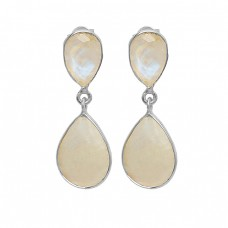 Bezel Setting Rainbow Moonstone Pear Shape 925 Sterling Silver Gold Plated Stud Earrings
