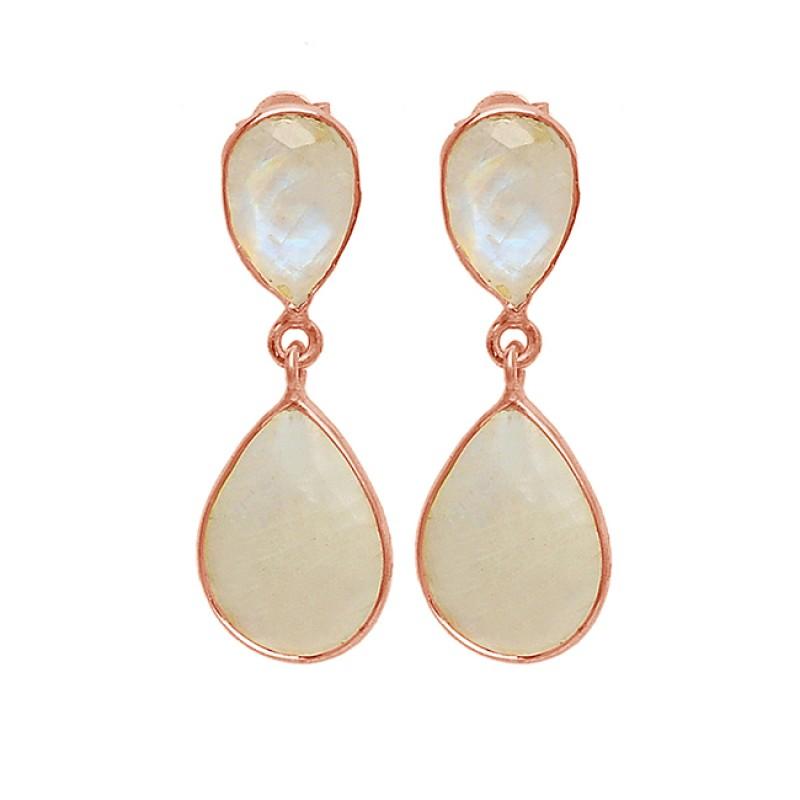Bezel Setting Rainbow Moonstone Pear Shape 925 Sterling Silver Gold Plated Stud Earrings