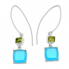 Peridot Chalcedony Gemstone 925 Sterling Silver Gold Plated Dangle Hoop Earrings
