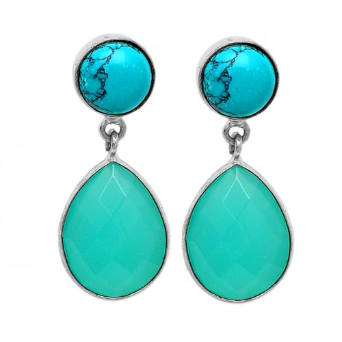 Turquoise Chalcedony Gemstone 925 Sterling Silver Gold Plated Stud Dangle Earrings