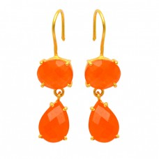 Carnelian Oval Pear Shape Gemstone 925 Sterling Silver Gold Plated Fixed Ear Wire Earrings