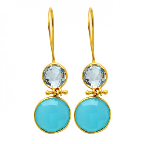 925 Sterling Silver Blue Topaz Chalcedony Gemstone Gold Plated Fixed Ear Wire Earrings