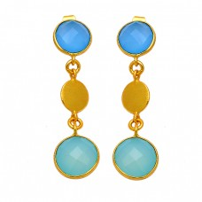 925 Sterling Silver Chalcedony Round Shape Gemstone Bezel Setting Gold Plated Earrings