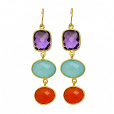Amethyst Chalcedony Carnelian Gemstone 925 Sterling Silver Gold Plated Dangle Earrings