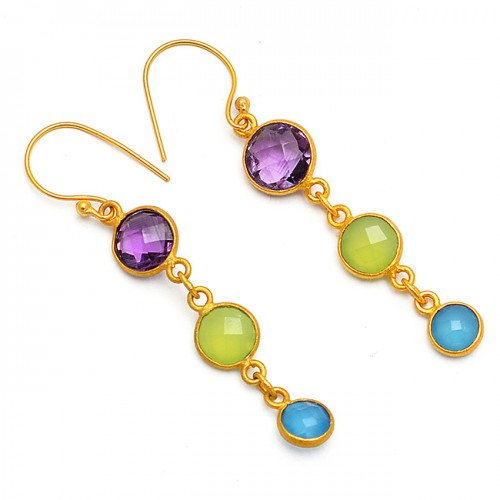 Bezel Setting Amethyst Chalcedony Gemstone 925 Sterling Silver Gold Plated Earrings
