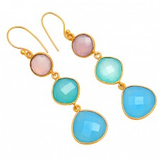 925 Sterling Silver Chalcedony Gemstone Gold Plated Dangle Handmade Earrings