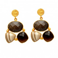 Flint Smoky Quartz Gemstone 925 Sterling Silver Gold Plated Stud Dangle Earrings