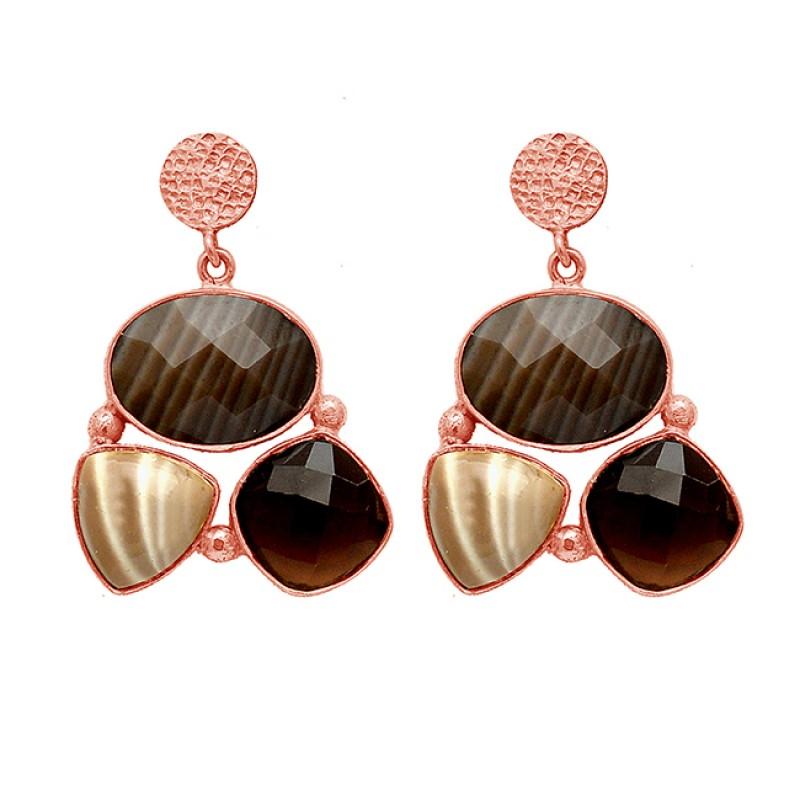 Flint Smoky Quartz Gemstone 925 Sterling Silver Gold Plated Stud Dangle Earrings
