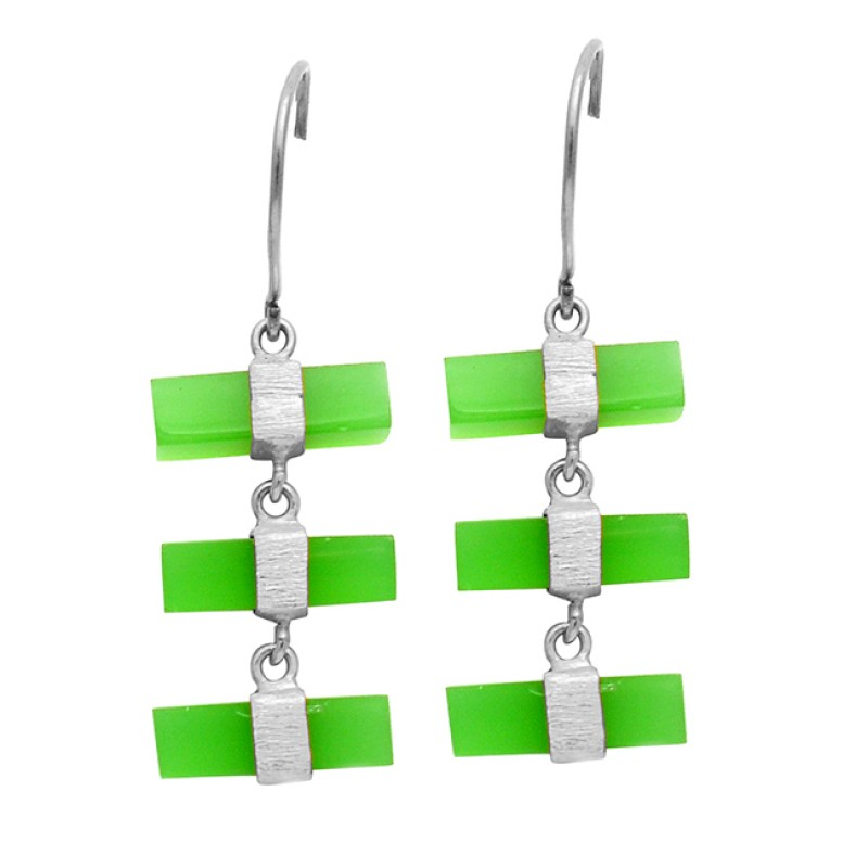 Prehnite Chalcedony Rectangle Box Shape Gemstone Gold Plated Dangle Earrings