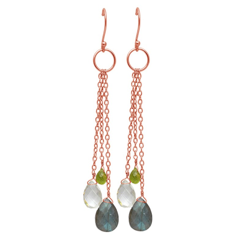 925 Sterling Silver Labradorite Crystal Peridot Gemstone Chain Hanging Gold Plated Earrings