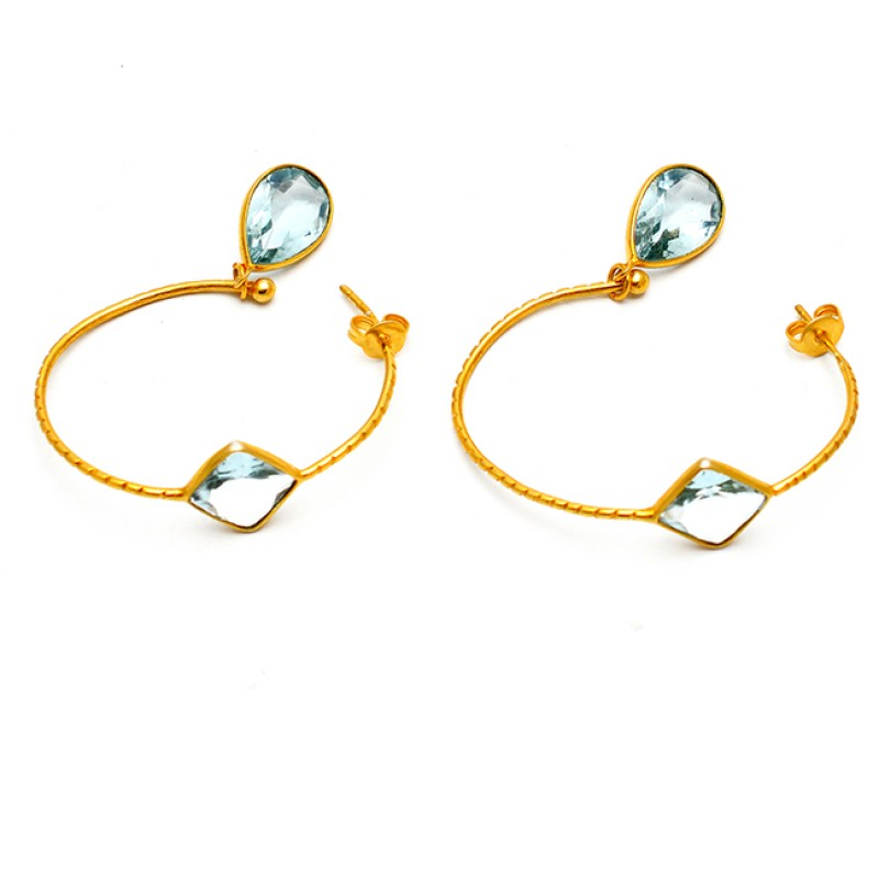 Blue Topaz Pear Square Shape Gemstone Gold Plated Designer Hoop Earrings
