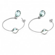 Blue Topaz Pear Square Shape Gemstone Gold Plated Designer Hoop Earrings