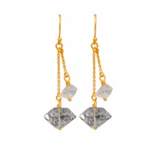 925 Sterling Silver Herkimer Diamond Rough Gemstone Gold Plated Chain Dangle Earrings