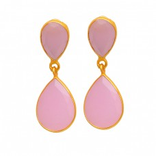 Rose Chalcedony Pear Shape Gemstone 925 Sterling Silver Gold Plated Stud Earrings