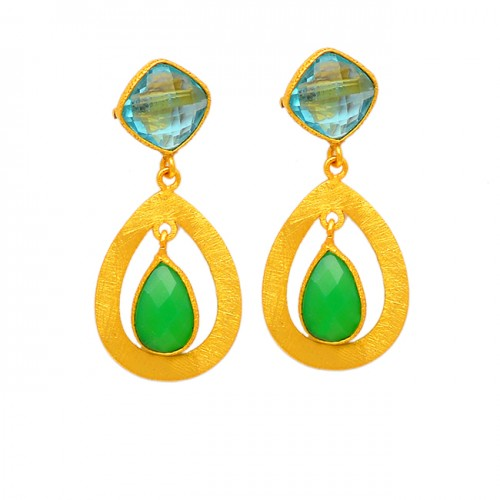 Handcrafted Designer Blue Topaz Chalcedony Gemstone Gold Plated Stud Dangle Earrings