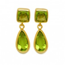 Peridot Cushion Pear Shape Gemstone 925 Sterling Silver Gold Plated Stud Dangle Earrings