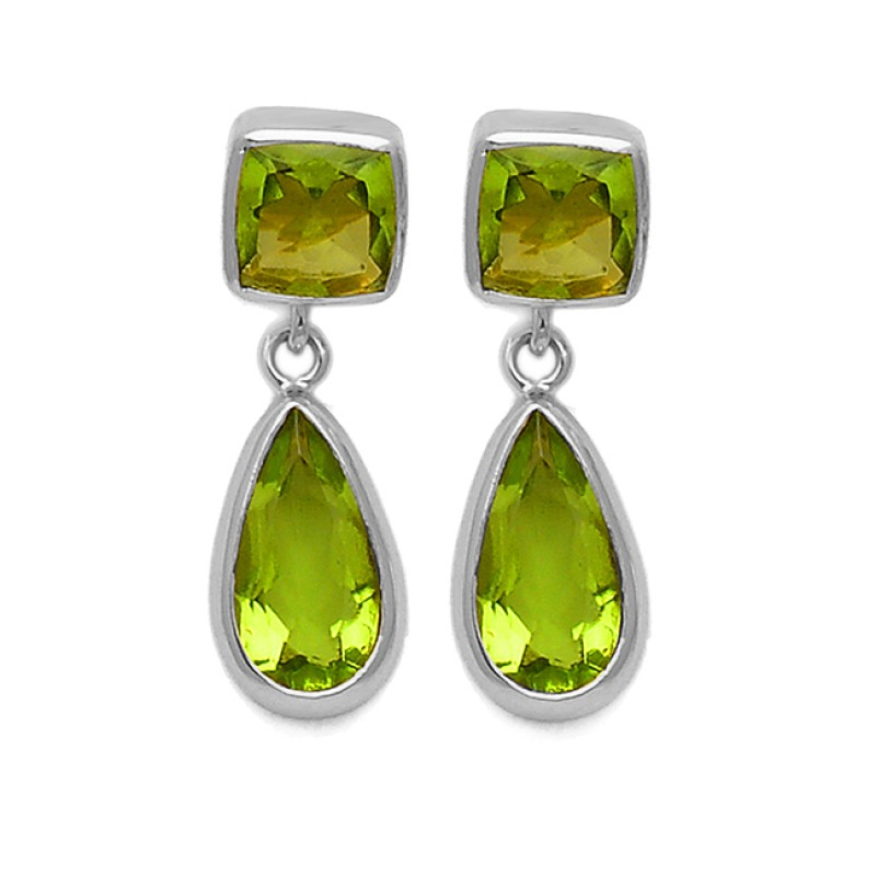 Peridot Cushion Pear Shape Gemstone 925 Sterling Silver Gold Plated Stud Dangle Earrings