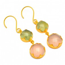 Cabochon Round Shape Rose Prehnite Color Chalcedony Gemstone Gold Plated Earrings
