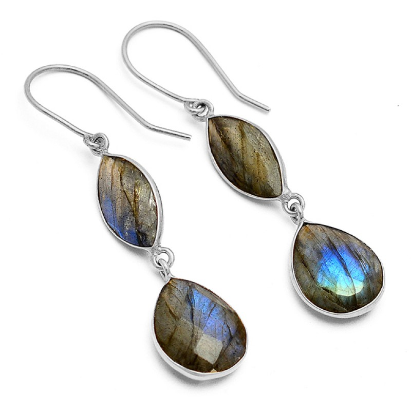 Labradorite Marquise Pear Shape Gemstone 925 Sterling Silver Gold Plated Dangle Earrings