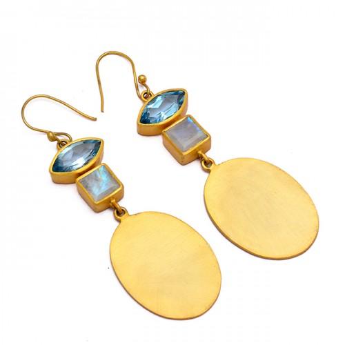 Moonstone Blue Topaz Gemstone Handcrafted Designer Gold Plated Dangle Earrings
