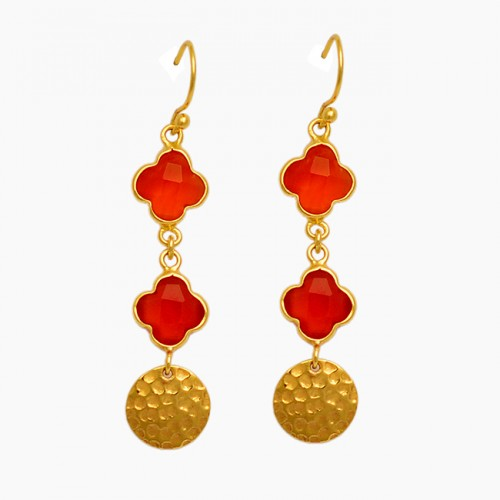 Carved Flower Shape Red Onyx Gemstone 925 Silver Gold Plated Deangle Earrings