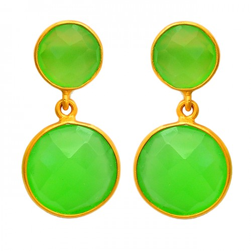 Briolette Round Shape Chalcedony Gemstone 925 Sterling Silver Gold Plated Stud Earrings